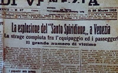 """L'esplosione del """"Santo Spiridione"""" a Venezia"""